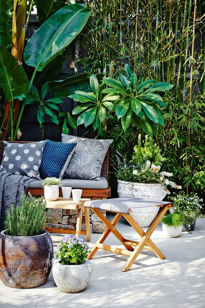 5. Remember that it doesn't take a lot to build a beautiful outdoor space — it's about choosing the things that you love, whether it's a a handpainted pot or a special throw rug that used to personalise the space.