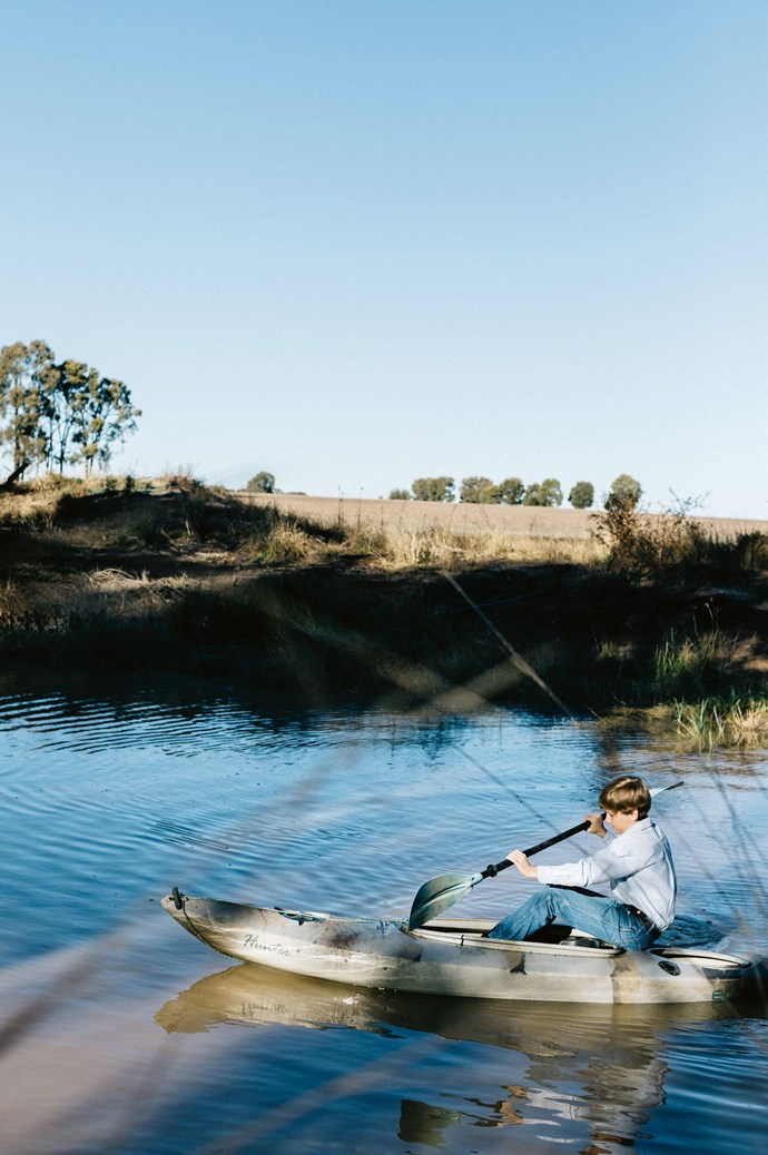 Sam explores Canaga Creek on his kayak.  | Photo: Marnie Hawson
