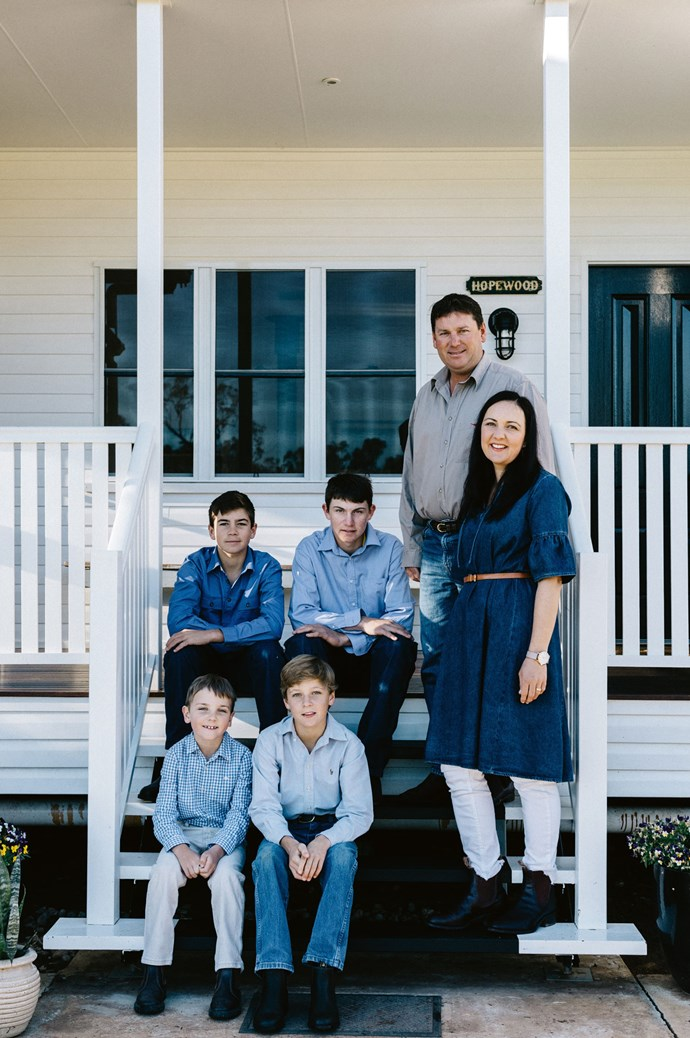Susan and Matthew Playsted, with their boys — Clancy, 16, Will, 14, Sam, 11, and eight-year-old Archer.  | Photo: Marnie Hawson