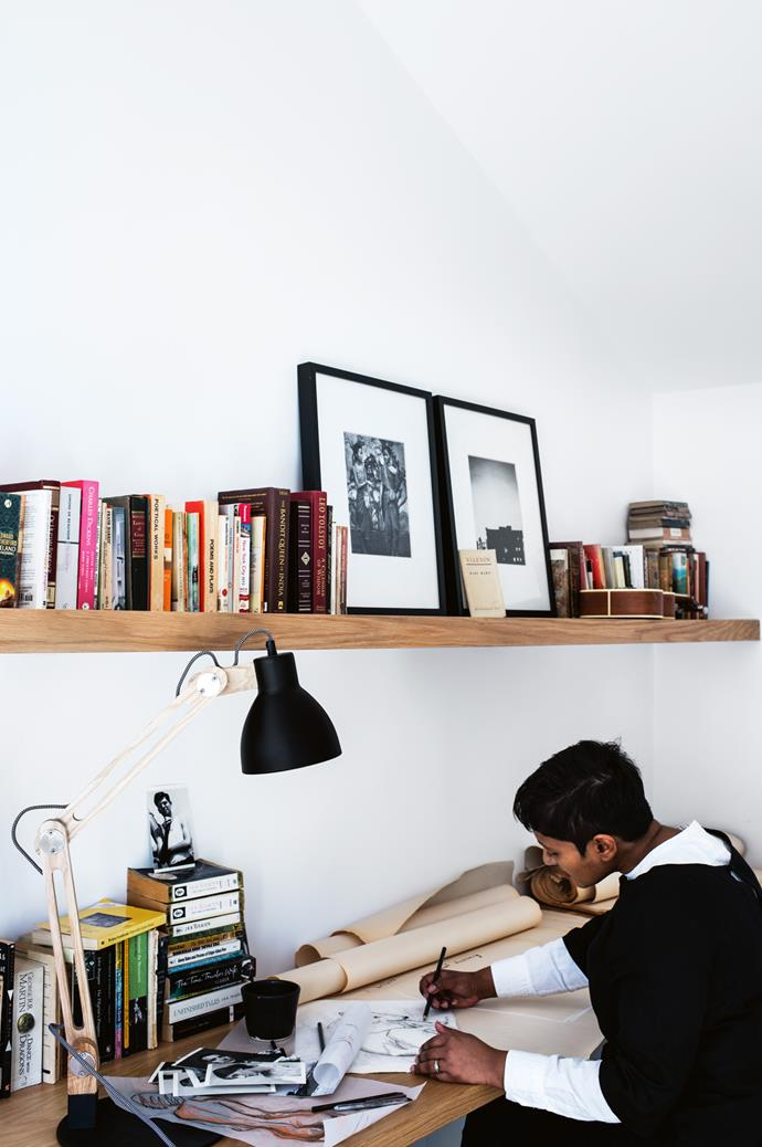 "Kasturi draws in her [home office](https://www.homestolove.com.au/12-smart-home-offices-3309|target=""_blank""). ""I love how the sunlight floods the room completely and leaves you feeling inspired,"" she says."