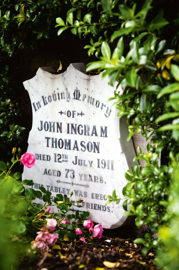 "The couple have paid respect to the church's original pastor, John Ingram Thomason, by displaying his headstone in the garden. ""He was regarded as the Good Samaritan of Underwood,"" says Jim."