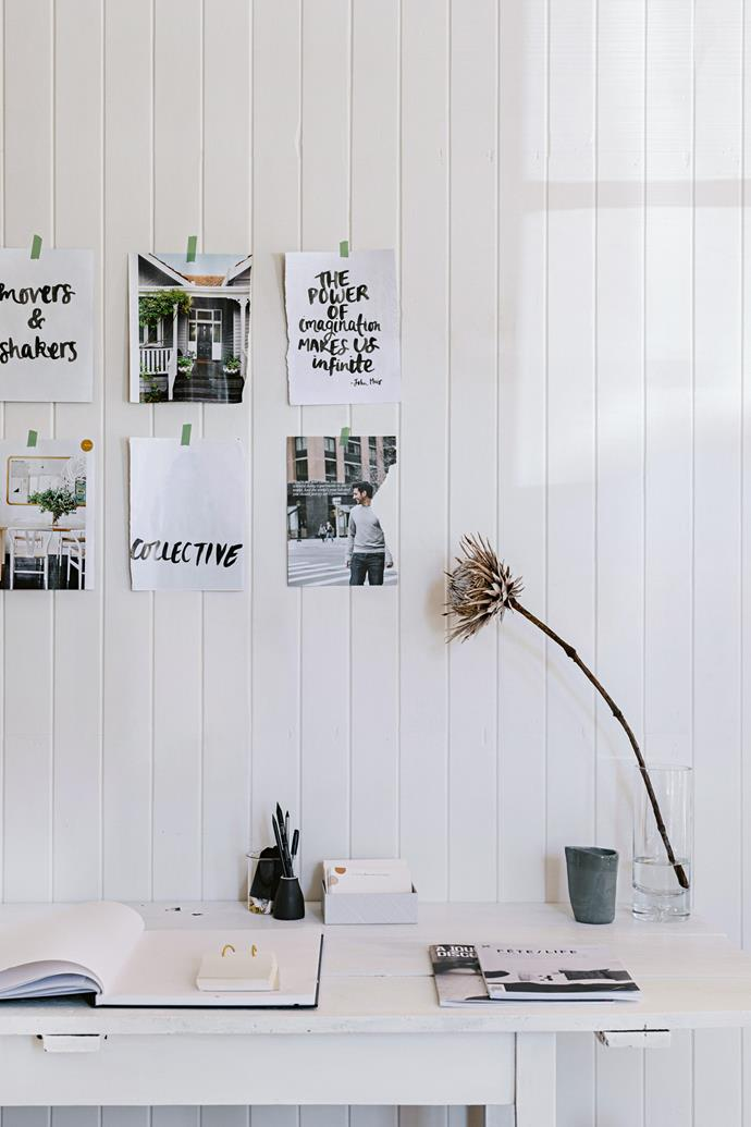 """I love putting quotes on the wall as a reminder,"" says owner Kirstie Penton of her [stylish work space](https://www.homestolove.com.au/3-inspiring-home-office-styles-1926