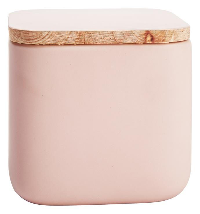Brighten up a white colour scheme with cute accessories. Square canister in Pink and Blue, $5 each, from [Kmart](http://www.kmart.com.au/).