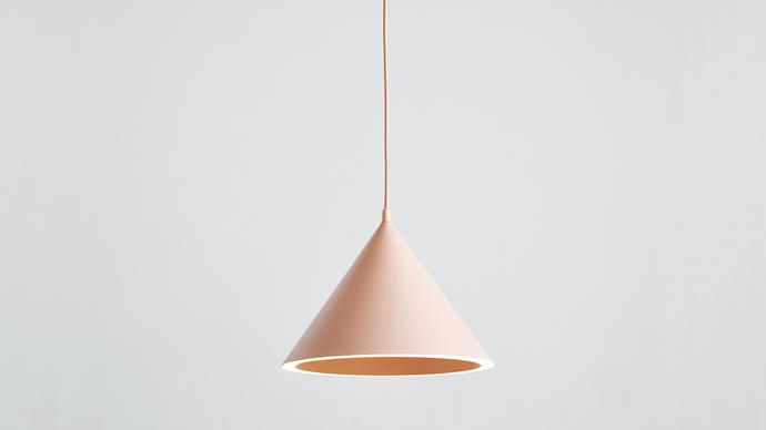 Light up the room with this elegant pendant. Woud 'Annular' pendant light in Nude, $650, from [Simple Form](https://simpleform.com.au/).