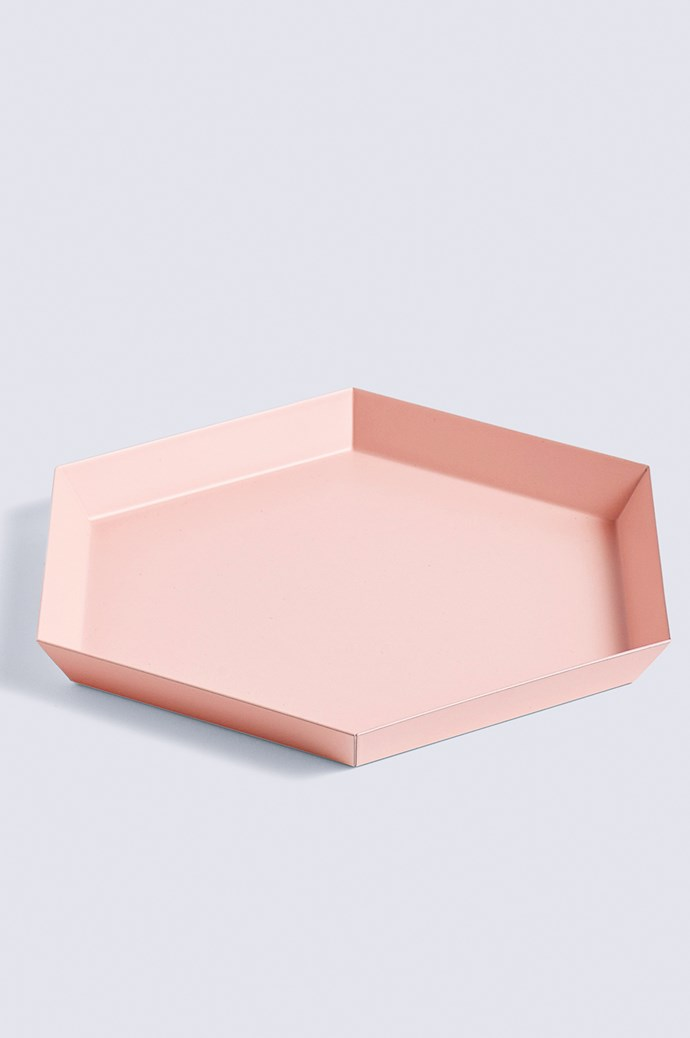 Always losing your keys? Give them a dedicated home. 'Kaleido' steel tray in Peach, $33, from [Hay](http://hay.dk/).