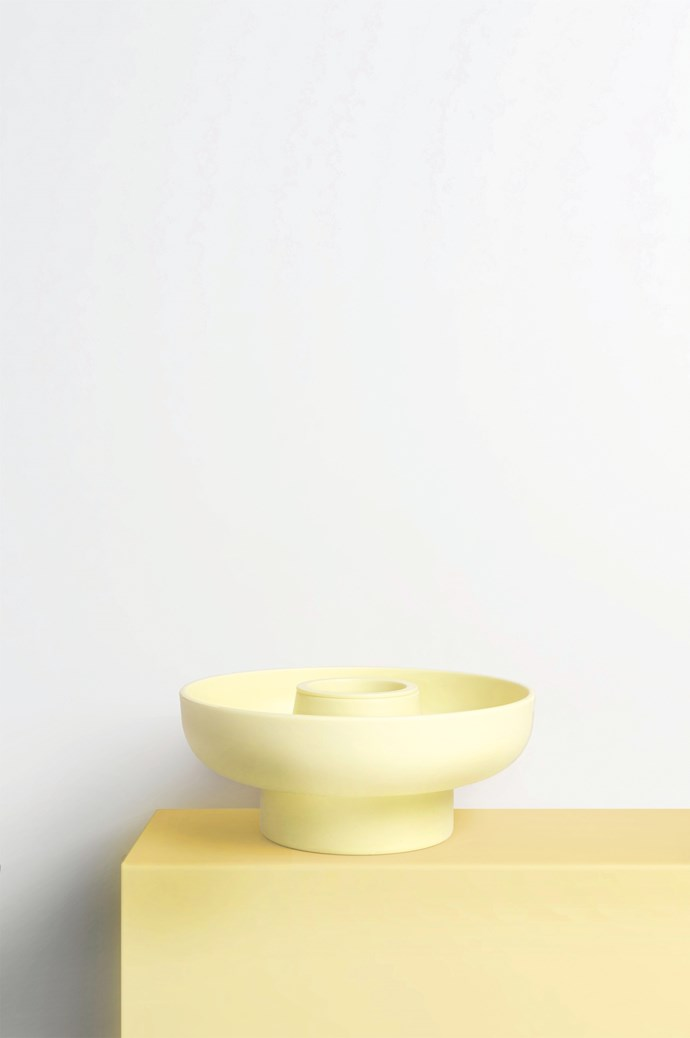 Offer dip and crackers to guests in a cool dish. Ommo 'Hoop' serving bowl in Pale Yellow, $44.95, from [H&G Designs](http://handgdesigns.com/).