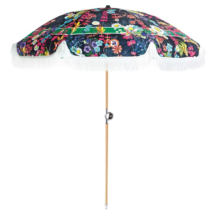 Show the world you're no shrinking violet. 'Day Tripper' beach umbrella, $329 by Cynthia Rowley from [Basil Bangs](https://www.basilbangs.com/).