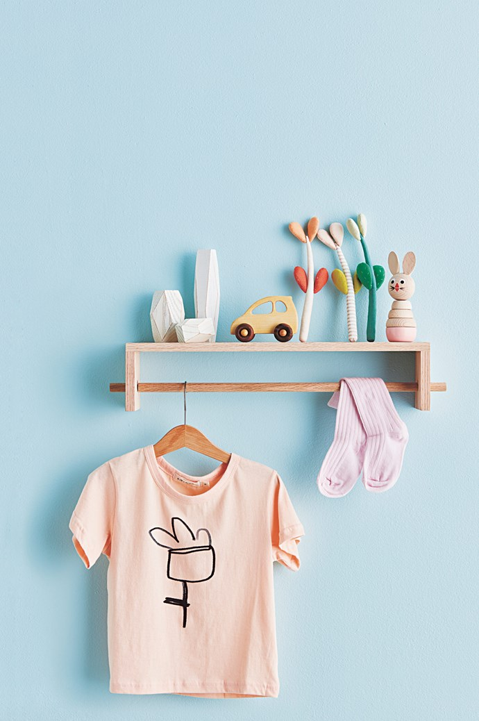 'Pollie' shelf, $39.95, from [Olli Ella](www.olliella.com.au/). Areaware balancing blocks, about $77, from [Everyday Needs](https://www.everyday-needs.com/). Wooden Stories Organic Toys 'Eco' car, $56, from [Designstuff](www.designstuff.com.au/). 'Little Jade Plant' soft toys, about $24 each, from [Cocon](http://cocon.bigcartel.com/). Sarah and Bendrix 'Madeleine' stacking toy, $24.95, from [Hello Little Birdie](https://www.hellolittlebirdie.com.au/). 'Hänga' coathanger, $4.99 for five, from [IKEA](www.ikea.com/au/en/). Kid + Kind 'Flower' T-shirt, $45, from [Izzy & Pea](https://izzyandpea.com/). Socks, $14.50, from [Little Scout Co.](https://www.littlescoutco.com/) 'Endure' interior low-sheen paint in Pacific Coast, $65.80 for 4L, from [Taubmans](www.taubmans.com.au/).
