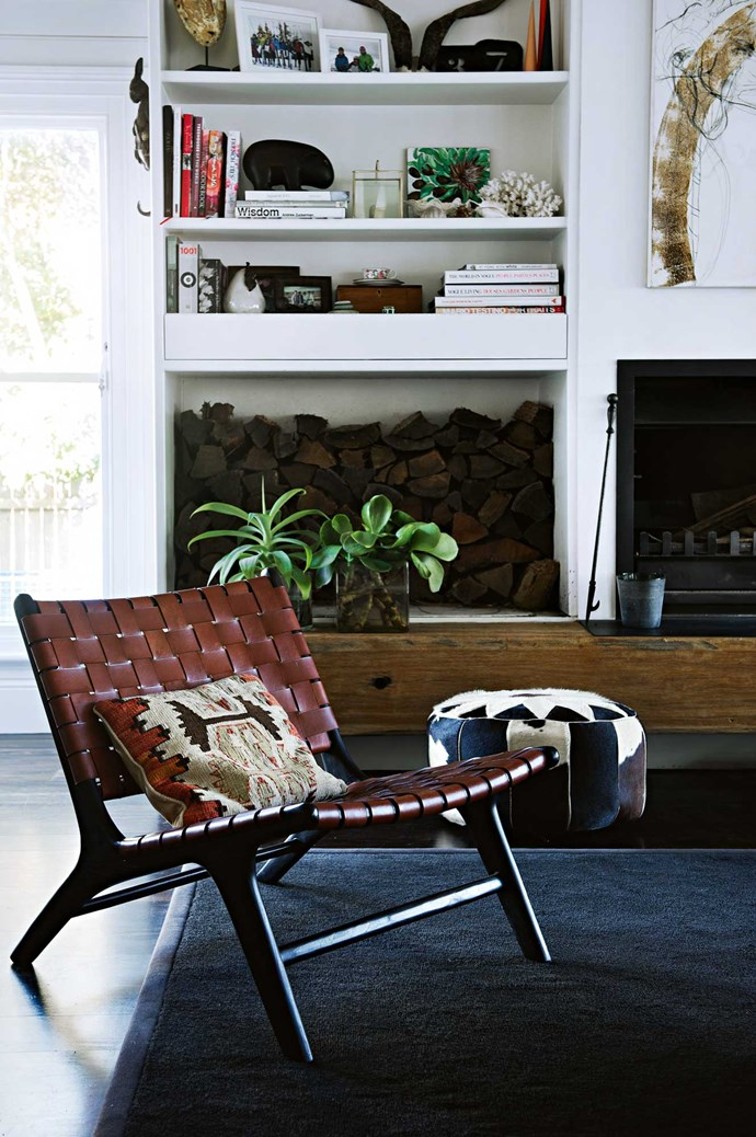 """A cushion from the UK on a chair that was a gift, and a cowhide footrest from Sydney's [Orson & Blake](http://www.orsonandblake.com.au/