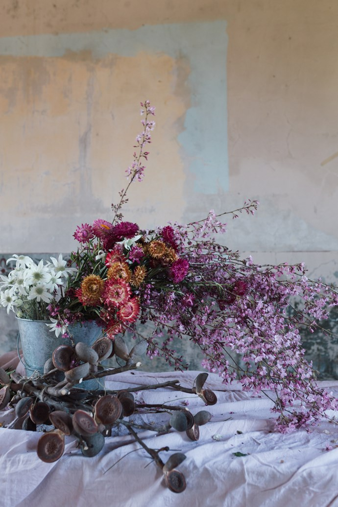 Small scenes using flowers, local produce and linen were set up ready to be photographed.   Photo: Annabelle Hickson