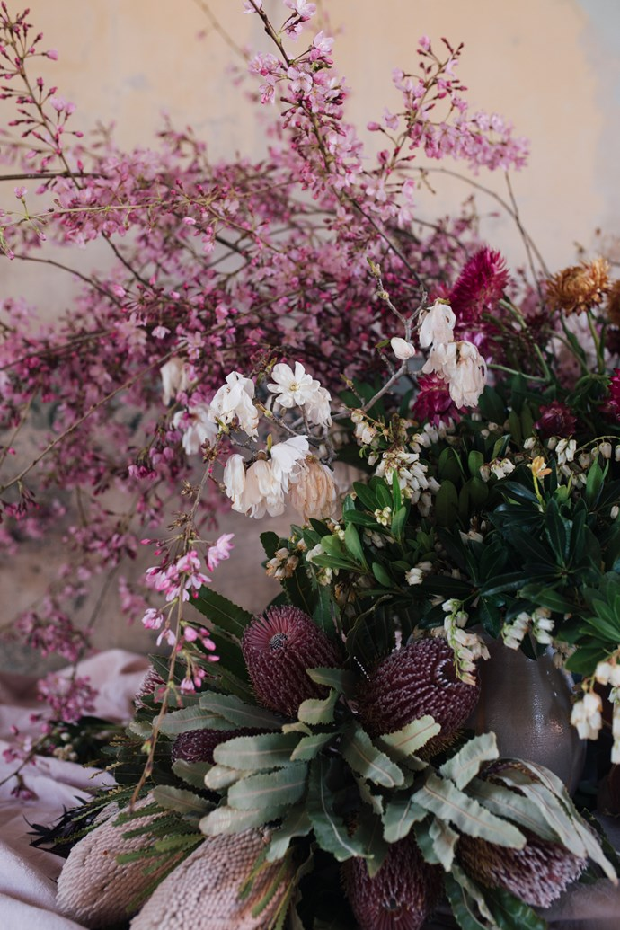 An arrangement of Spring. (Flannel flowers, paper daisies, pieris, banksias, bottlebrushes and large native pods)   Photo: Annabelle Hickson