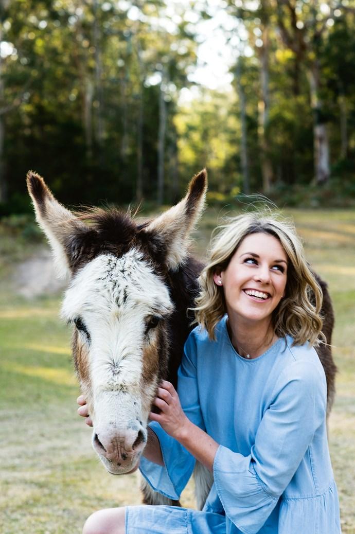 Emma with Alice, the 17-year-old donkey. | Photo: Brigid Arnott | Styling: John Mangila
