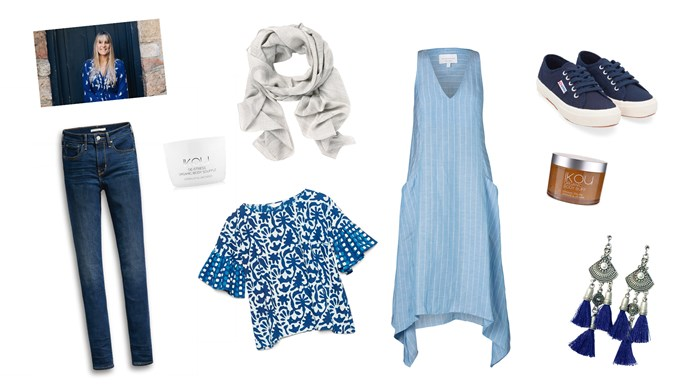 Jane mixes functional pieces with a bohemian spirit. Here are her best picks for feeling confident with comfortable basics (in calming shades of blue!). Clockwise from top left, 'Spot Detail' scarf in Grey Marle, $79.95, from [Country Road](https://www.countryroad.com.au/); Centaur' dress, $370, from [Viktoria and Woods](https://viktoriaandwoods.com.au/); Superga '2750 Cotu Classic' sneakers in Navy, $89.95, from [Birdsnest](https://www.birdsnest.com.au/); Organic Body Buff, $49.95, from [Ikou](https://ikou.com.au/); Isle and Tribe 'Sahana' silver tassel earrings, $59.95, from [Birdsnest](https://www.birdsnest.com.au/); Wax print top, $149, from [Gorman](http://www.gormanshop.com.au/); '721' high-rise skinny jeans in Amnesia, $129.95, from [Levi's](https://www.levis.com.au/); Organic Body Soufflé, $59, from [Ikou](https://ikou.com.au/).