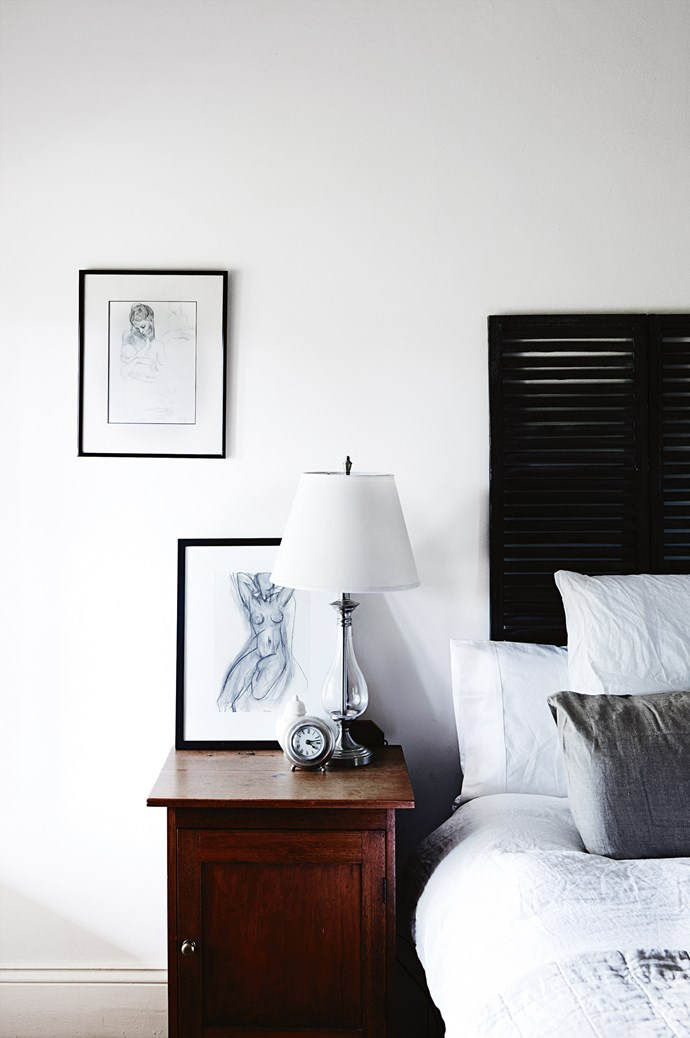 Prints byPicasso and Matisse match the restrained shades of the [Bedouin Societe](http://www.bedouinsociete.com/) French bed linen.