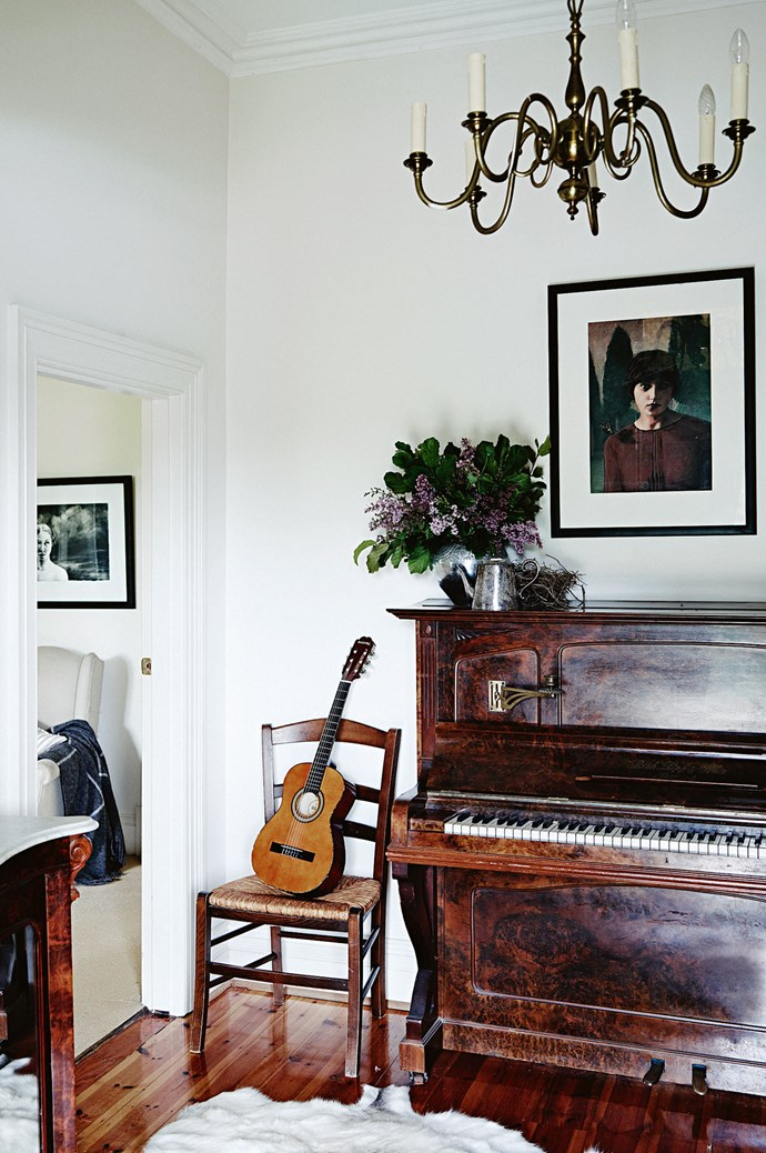 'Emanuelle' by Adelaide-based artist Megan Roodenrys hangs above the piano.  | Photo: Mark Roper