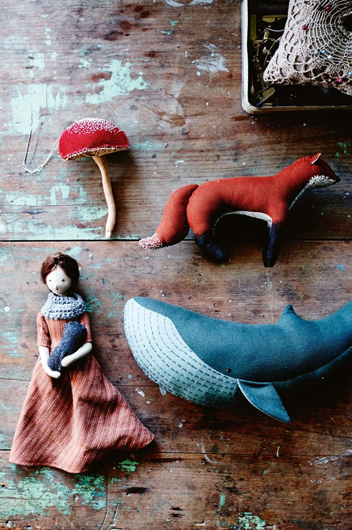 Chestnut-coloured foxes with tails spotted in elegant French knots, perfectly stitched blue whales to fill imaginary seas, red-capped mushrooms with pleated undersides, and beautiful cloth dolls that could have been inspired by the heroines of Diana Gabaldon's Outlander series. | Photo: Mark Roper