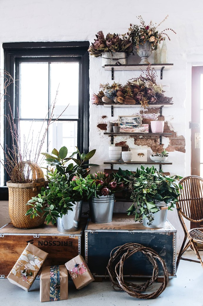"When this unrenovated 1860s building with a courtyard and upstairs apartment hit the market, Gabrielle's small business moved in and grew into The Flower Pantry. ""Opening this shop was definitely a risk,"" says Gabby. ""But I was so passionate about it and I hoped that would shine through."" 