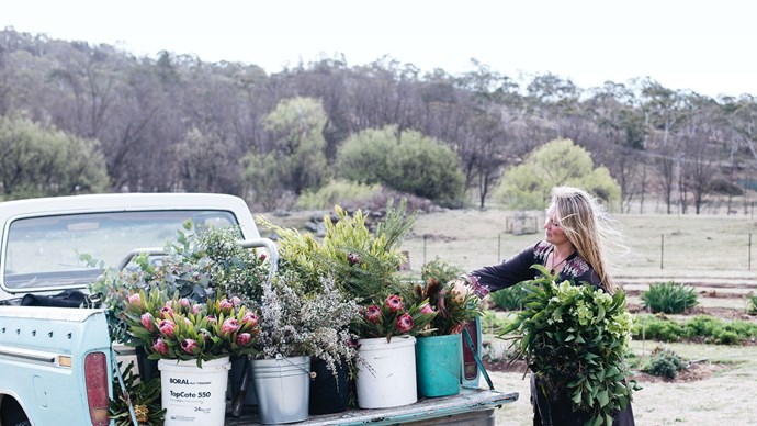 "Loading buckets of flowers onto the back of Mount Darragh-based native grower Andrew Glenn's ute from Gabby's cut flower patch. While musing over the blooming success of her business, Gabby says, ""We had an amazing response when we first opened, and it has continued. We've really tried to make it a beautiful place to come."" For further information on The Flower Pantry, [click here](https://www.theflowerpantry.com/). 