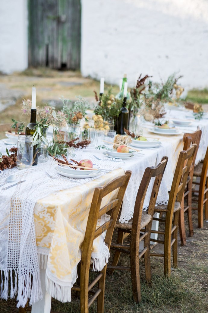 A table setting is the heart and soul of Mediterranean life — which participants were able to experience over 6 days at various styling and photoshoot locations across Lemnos. In preparation for a divine village feast, styling practicums for the participants included foraging for wild flowers, layering with vintage lace and scouring local wares to recreate this stunning scene. | Photo: Carla Coulson
