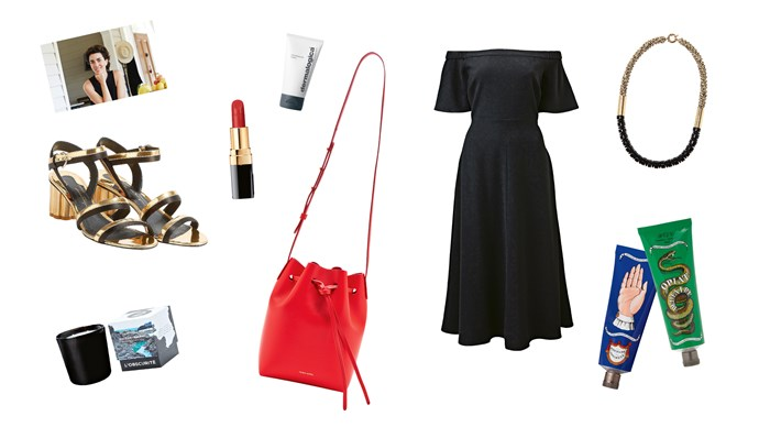 Accents of red and gold give classic monochrome an edge in Elise's collection of ultimate French chic – here are her must-haves for the wardrobe and vanity table. Clockwise from top left, Chanel Rouge Coco lip colour in Gabrielle, $53, from [David Jones](http://shop.davidjones.com.au/djs/en/davidjones); PreCleanse balm, $65, from [Dermalogica](https://www.dermalogica.com.au/); Mansur Gavriel 'Mini Mini' bucket bag, $568, from [Net-A-Porter](https://www.net-a-porter.com/au/en/); 'Flutter' dress, $159.95, from [Witchery](https://www.witchery.com.au/); Lyn and Tony 'Delta' necklace, $363, from [Becker Minty](https://www.beckerminty.com/); Buly 1803 Opiat Dentaire toothpaste, $46, and Pommade Concrète balm, $73, both from [Net-A-Porter](https://www.net-a-porter.com/au/en/); L'Obscurité candle, $69, from [Maison Balzac](https://www.maisonbalzac.com/); 'Flower Heel' sandals, $1050, from [Salvatore Ferragamo](https://www.ferragamo.com/shop/en/aus).