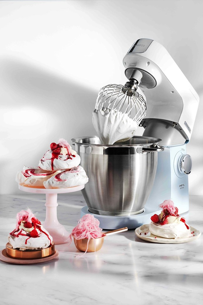 """The pavlova is an Australian classic,"" says Victoria. ""Smaller meringues are an easy option to share around ¬–with cream and berries, they're sure to impress guests."" With Kenwood chef Sense XL Mixer in blue (KVL6100B), $699, available at [Harvey Norman](https://www.harveynorman.com.au/)."