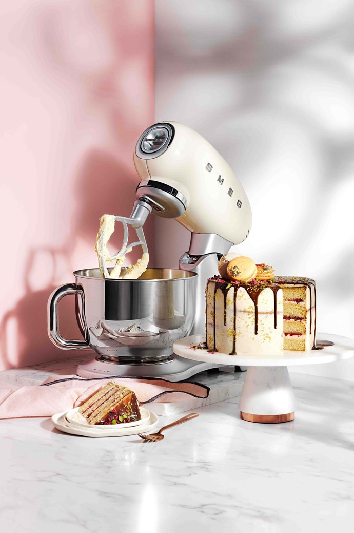 "A statement-making cake is worth the effort. ""It can double as a centrepiece,"" says Victoria. ""Consider how you are going to decorate the table when choosing the icing and toppings."" With Smeg 50s Style Stand Mixer in cream (SMF01CRAU), $799, available at [Harvey Norman](https://www.harveynorman.com.au/)."