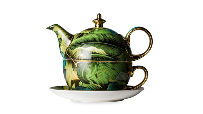The Teetotaller Green tea devotees require an equally leafy teapot. This one comes in fine bone china and frames its jungle print with a gilded trim. Luscious Goes Leafy Green Tea For One; [t2tea.com](http://www.t2tea.com/en/au/Home1)