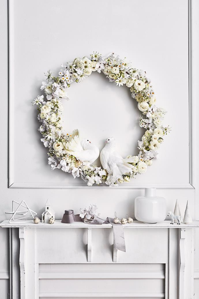 "Dress your table with [white flowers](https://www.homestolove.com.au/plants-with-white-flowers-8696|target=""_blank"") — take inspiration from our wreath, which features ranunculus and flannel flowers."