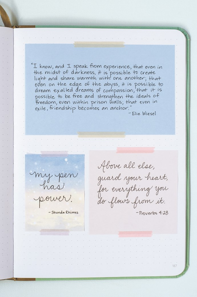 """""""There are definitely people who spend more time on their bullet journals; they enjoy looking for ideas and inspiration and creating beautiful new layouts,"""" Rachel says. """"Many of them are people who were looking for a creative outlet, and their bullet journal became that. But that approach isn't a requirement. And those extras never need to interfere with our core reasons for bullet journalling: organisation, self-reflection, self-improvement and getting stuff done."""" For more information on Rachel and her books on bullet journalling, click [here](http://www.rachelwmiller.com/). 