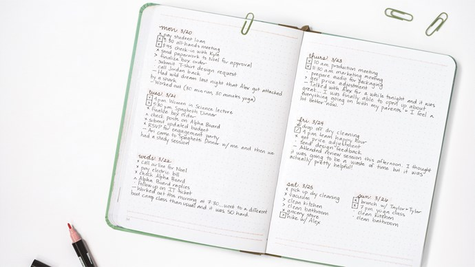 """A bullet journal operates like a planner — but the journaller has complete reign over the page layouts, or """"spread"""". Spreads can be artistic or they can just be plain, old-fashioned lists. Regardless, your spreads will likely be defined by a specific time frame (like """"this week"""") or a specific topic (like """"grocery list"""" or """"habit tracker""""). The main symbol on each spread is the """"dot""""; it signifies """"this is a task that you need to complete"""". 