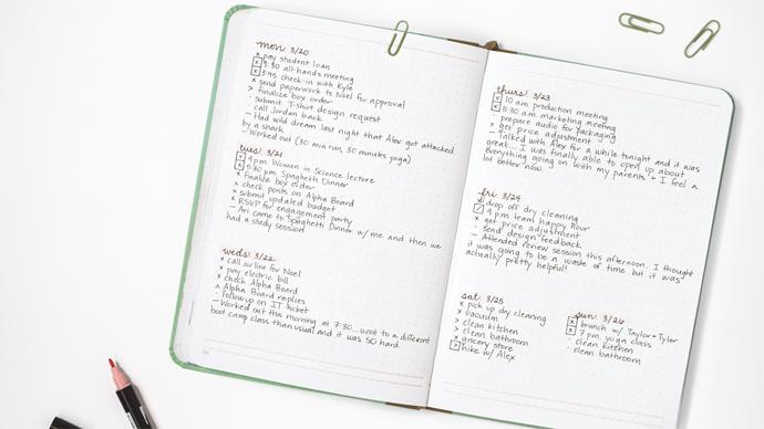 "A bullet journal operates like a planner — but the journaller has complete reign over the page layouts, or ""spread"". Spreads can be artistic or they can just be plain, old-fashioned lists. Regardless, your spreads will likely be defined by a specific time frame (like ""this week"") or a specific topic (like ""grocery list"" or ""habit tracker""). The main symbol on each spread is the ""dot""; it signifies ""this is a task that you need to complete"". 