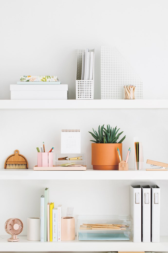 YOUR NEW STUDY CUPBOARD. TOP SHELF, LEFT TO RIGHT 'Herb Garden' 2018 planner, about $50, from [Paper Plane](https://www.paperplanestore.com/). 'Create Your Life Plan' book $39.95, and 'Half A4' storage box, $16.95, from [Kikki.K](https://www.kikki-k.com/). Otto 'Punched' metal magazine files $7.96/each, and 'X' mini coloured pencils, $4.99/set of 36, all from [Officeworks](https://www.officeworks.com.au/). Small container, $33, from [Hay](http://hay.dk/). MIDDLE SHELF, FROM LEFT Iris Hantverk table brush, $45, from [Arrival Hall](https://arrivalhall.com.au/). 'Marlow' tray in Blush, $79.95, from [Sly](https://onthesly.com.au/). Metal pen pot in Pink, $29.95, and Appointed 2018 desk calendar, $44.95, both from [Milligram](https://milligram.com/). Daily Fiction by Normann Copenhagen felt pen, $16.95/set of 3, from [BYMR](http://www.bymr.com.au/). 'J Story' gel pen in Black and White Stripe, $4.95, and 'Field Notes' pencil, $1.95, both from [Paper2](http://paper2.com.au/home.php). Other pens, stylist's own. Acrylic case with two drawers, $23.95, from [MUJI](http://www.muji.com/au/). 'Clip Clip' paper clips, $14 each, from [Hay](http://hay.dk/). Daily Fiction by Normann Copenhagen 'Letter' sticky notes, $9.95, from [BYMR](http://www.bymr.com.au/). Anchor Ceramics stoneware planter, $160, and succulent plant, $22, both from [Koskela](https://www.koskela.com.au/). Wooden pen holder, $14.95, from [Paper2](http://paper2.com.au/home.php). Pens, stylist's own. Acrylic letter stand, $9.95, from [MUJI](http://www.muji.com/au/). Envelopes, from 60c each, from [Paper2](http://paper2.com.au/home.php). Wooden stapler, $5, from Kmart. BOTTOM SHELF, FROM LEFT USB desk fan in Pink, $39.95, from [MUJI](http://www.muji.com/au/). 'Book End' planters, about $69 each, from [Kate Sylvester](https://katesylvester.com/). 'The Life Plan' book by Shannah Kennedy, $39.95, from [Kikki.K](https://www.kikki-k.com/). Daily Fiction by Normann Copenhagen large notebook, $49.95, and small notebooks, $2