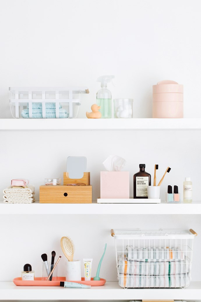 YOUR NEW BATHROOM CUPBOARD. TOP SHELF, FROM LEFT Yamazaki 'Tosca' basket, about $53, from [Paper Plane](https://www.paperplanestore.com/). 'Otis' hand towel, $19.95, and face washer, $12.95, both from [Country Road](https://www.countryroad.com.au/). Oli & Carol bath duck, $24.95, from [Leo & Bella](https://leoandbella.com.au/). Spray bottle, stylist's own. Large container, $43, from [Hay](http://hay.dk/). 'Gaussian' three-tier vessel in Pink, $149, from [Città](https://www.cittadesign.com/). MIDDLE SHELF, LEFT TO RIGHT Botanical soaps, $15.95 each, and Kontex wash cloths, $19.95 each, all from [MAPLE](http://maplesoaps.com/). Dish and hair ties, stylist's own. Table mirror, $25.95, from [Design Twins](https://www.designtwins.com/). 'Circle' hair clips, $24/set of 6, from [Machete](https://shopmachete.com/). MDF drawer unit, $33.95, from [MUJI](http://www.muji.com/au/). 'Oku' tissue box in Pink, $49, from [Città](https://www.cittadesign.com/). Mouthwash, $25, from [Aesop](https://www.aesop.com/au). Bamboo toothbrushes, about $13 each, from [Paper Plane](https://www.paperplanestore.com/). Porcelain cup, $6.95, from [MUJI](http://www.muji.com/au/). 'Marlow' tray in White, $79.95, from [Sly](https://onthesly.com.au/). Kester Black nail polishes, $20 each, and Kester Black nail polish remover, $20, all from [Koskela](https://www.koskela.com.au/). BOTTOM SHELF, FROM LEFT Byredo 'Bal D'Afrique' eau de parfum 50ml, $160, from [Mecca](https://www.mecca.com.au/). Acrylic pot, $4.50, from [MUJI](http://www.muji.com/au/). Brushes, stylist's own. Round hairbrush, $54, from [Hay](http://hay.dk/). Marble toothbrush holder, $29.90, from [Città](https://www.cittadesign.com/). Kids toothpaste, $6.95, and 'Bio' brush and stand in Rivermint, $8.95, both from [Jack n' Jill](http://jackandjillkids.com/). Long tray, $69, from [Keep Resin](https://keepresin.com.au/). Toothpaste, $15, from [Aesop](https://www.aesop.com/au). Yamazaki 'Tosca' laundry basket, about $77, from [Paper Plane](http