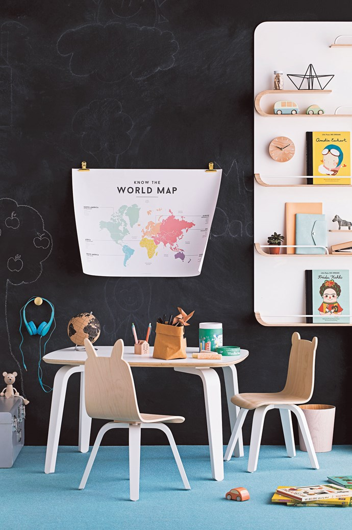 FROM LEFT Storage case, $159, from [Belle & Co Living](https://www.belleandcoliving.com.au/). Wooden Toys 'Stringy Sitting Bear' toy, $22, from [Leo & Bella](https://leoandbella.com.au/). Muuto 'Metal Dot' hook, $35, from [Top3 by Design](https://top3.com.au/). House Doctor office clips, $39.95 a pack of 20, from [Milligram](https://milligram.com/). 'Know the World Map' chart, $29.95, from [Squared Charts](https://wearesquared.com.au/). Rafa Kids 'XL' shelf, $849, from [In My Hood](http://www.inmyhood.com.au/). ON SHELF Mini pegs, $9.95 a pack of 15, and 'Inspiration' clock, $39.95, both from [Kikki.K](https://www.kikki-k.com/). Snug Studio 'Ahoy' boat, $83.95, Maileg bus toy, $44, Maileg car toy, $39.95, Little People, Big Dreams: Amelia Earhart book by Isabel Sánchez Vegara, $19.99, and Little People, Big Dreams: Frida Kahlo book by Isabel Sánchez Vegara, $19.99, all from [Leo & Bella](https://leoandbella.com.au/). Tiny Tots plant, $4.98, from [Bunnings](https://www.bunnings.com.au/). Mishmash 'Stretch Me' notebook in Apricot, $29, from [Objet Trouve](http://www.objet-trouve.be/). Delfonics B6 Manon diary, $79.95, from [Paper2](http://paper2.com.au/home.php). 'Tiny Zebras' ornament, $70, from [Salad Days Ceramics](http://www.saladdaysceramics.com/). Wooden stapler, $5, from [Kmart](http://www.kmart.com.au/). ON FLOOR 'Oku' container (used as bin), $79.90, from [Città](https://www.cittadesign.com/). Maileg car toy, $39.95, Melbourne Word by Word book by Mike McMahon, $29.99, Australia: Illustrated book by Tania McCartney, $29.99, and Hide and Seek, an Around-the-World Animal Search book by Charlene Man, $16.99, all from [Leo & Bella](https://leoandbella.com.au/). Hidden World: Forest book by Libby Walden and Stephanie Fizer Coleman, $23, from [Kido](https://www.kidostore.com/). Wall painted in 'Design Chalkboard' paint in Black, $44.90 for 1L, from [Dulux](https://www.dulux.com.au/). | Photo: Chris Warnes