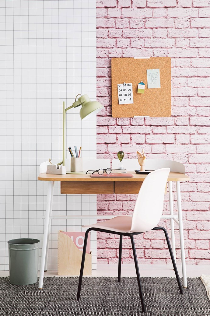 ON DESK 'Kaleido' small tray in Black, $54, and 'Kaleido' extra-small tray in Peach, $33, both from [Hay](http://hay.dk/). ON FLOOR Bunbuku rubbish bin in Grey, $39.95, from [Milligram](https://milligram.com/). 'Knuff' magazine file, $17.99 a set of 2, and 'Leifarne' chair in Pink, $50, both from [IKEA](http://www.ikea.com/au/en/). 'Checkerboard' rug, $865, from [Little P](https://www.little-p.com/). | Photo: Chris Warnes