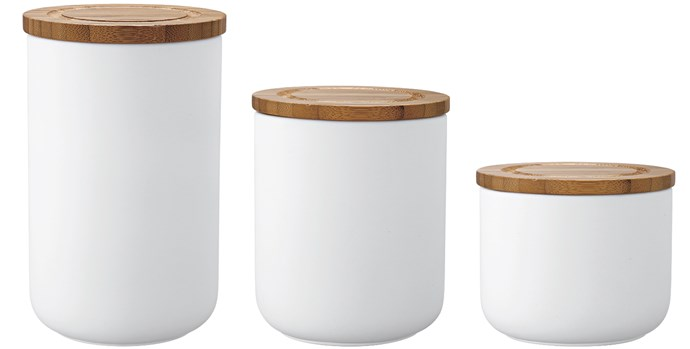 5\. 'Stak' canisters with bamboo lids, from $20 each, from [Howards Storage World](https://www.hsw.com.au/?site&pg_name=index).