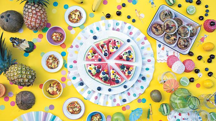 Double the colour of your proverbial fairy bread, with less than half the sugar. To curb the sprawling junk food spread at your child's next party, the lovely ladies of [There's a Carrot in my Piñata](http://www.beetrootinmycake.com.au/shop.html) have shared five recipes for nutritional, delicious party dishes. Now, let's dig into this [watermelon pizza](http://www.homelife.com.au/recipes/desserts/watermelon-pizza), shall we? | Photo: Judy Moosmueller