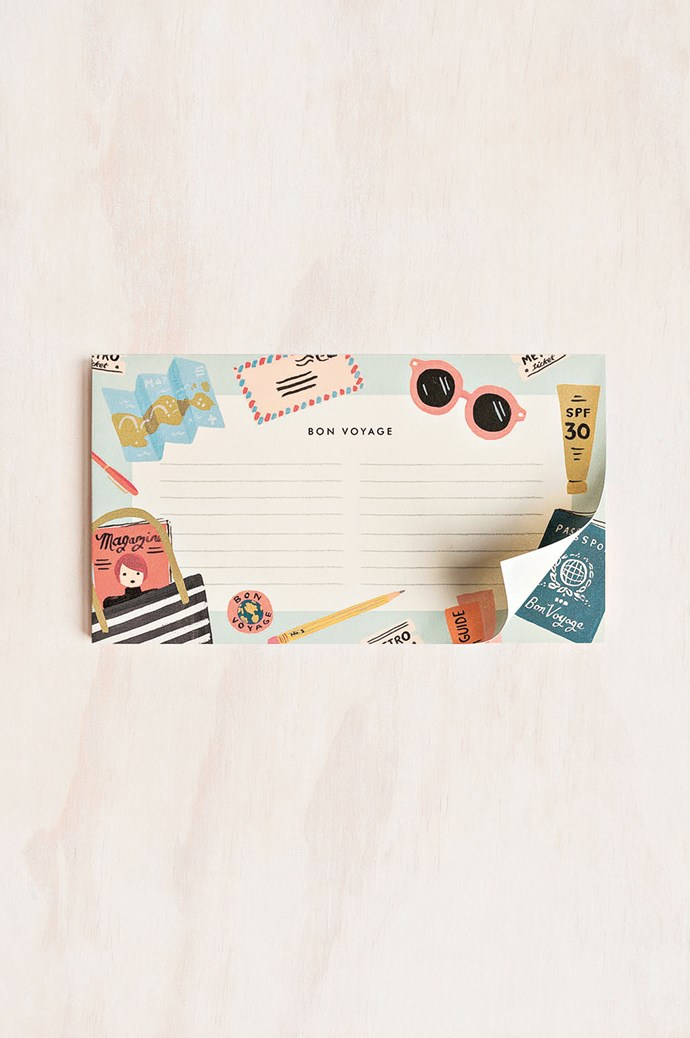 6\. For times when even your to-do list needs to be on-theme. Rifle Paper Co. 'Bon Voyage' notepad, $14.95, from [Milligram](https://milligram.com/).