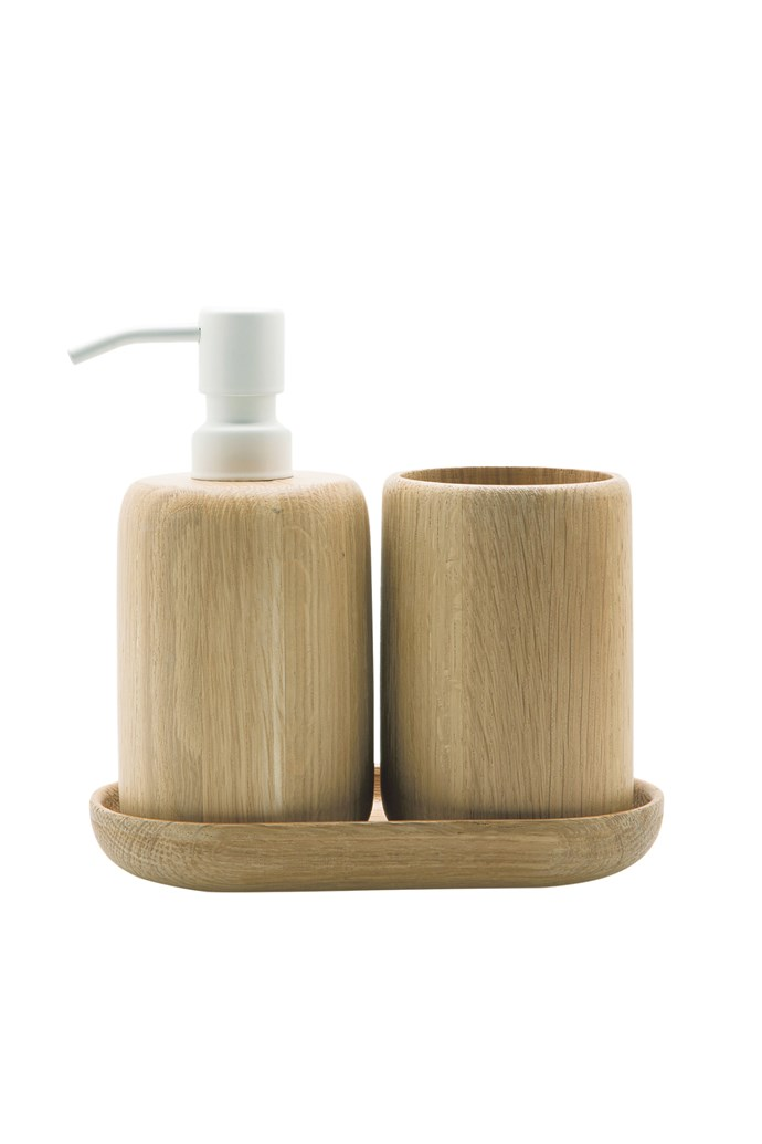 2. 'Bade' soap pump, $44.95, 'Bade' toothbrush holder, $39.95, and 'Bade' tray, $24.95, all from Country Road.