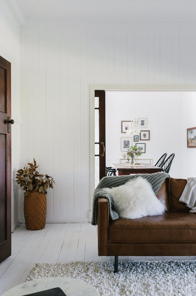 "Maree perused Pinterest boards for modern country farmhouse inspiration, seeking a clean, [all-white interior](https://www.homestolove.com.au/how-to-achieve-the-all-white-interiors-trend-5958|target=""_blank"") for her renovation. Furniture has been kept to a minimum."