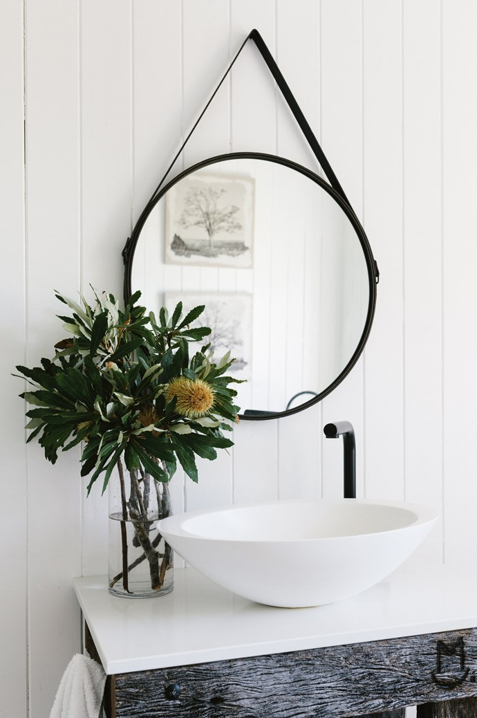 """Maree prefers neutral colours and natural fibres. """"I source so many things from the property like old rails, sticks, foliage or bottlebrush. That's so much more special or unique than going to the florist to buy flowers,"""" she says."""