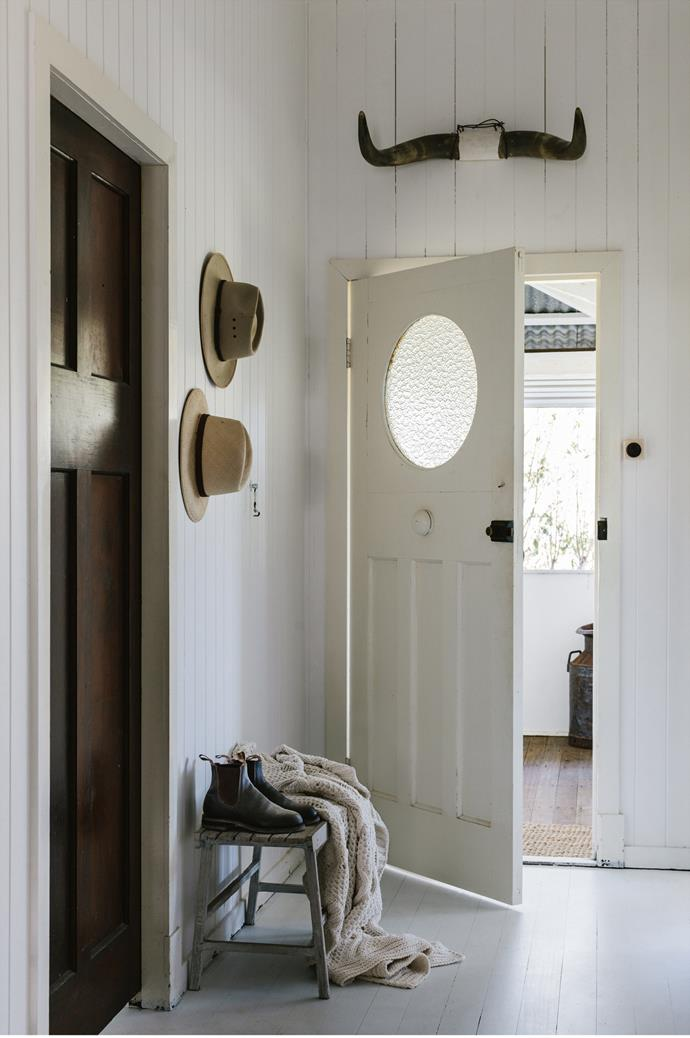 "Maree's parents' hats and her mother's boots remain in the [entryway by the front door](https://www.homestolove.com.au/inviting-home-entrance-ideas-5928|target=""_blank"") — a sentimental touch in Maree's classic blend of modern and old materials."