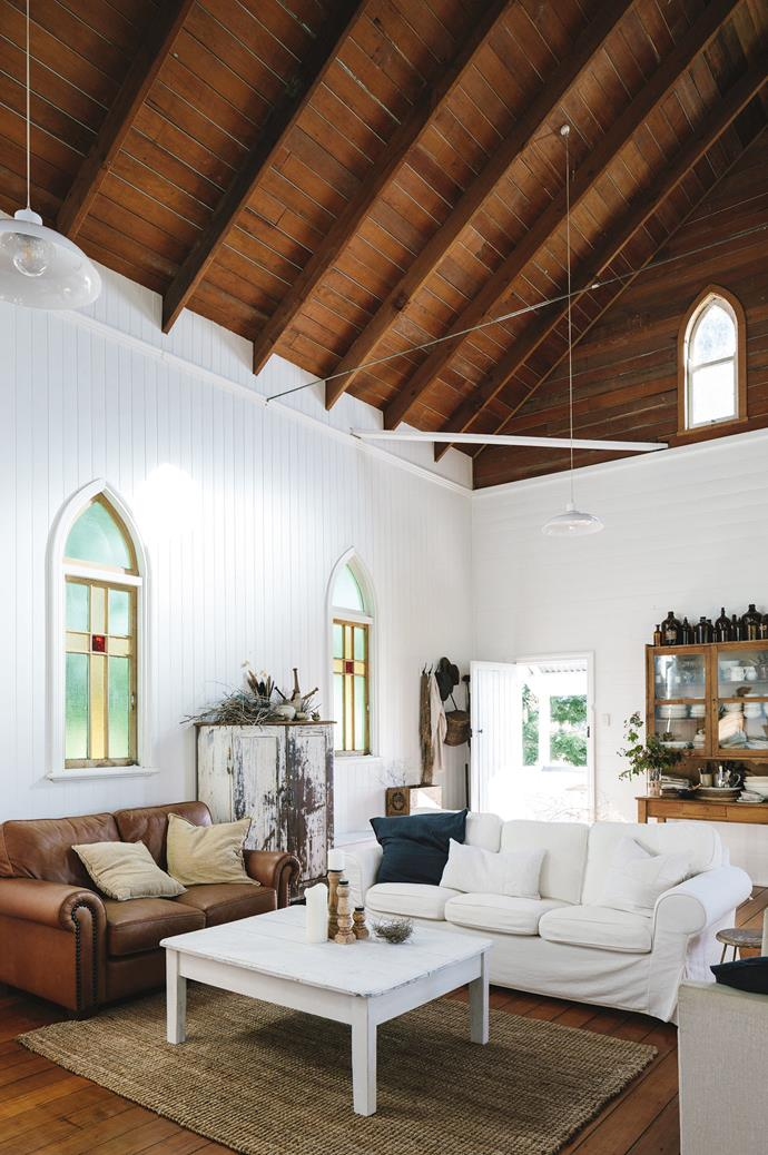 """I love things that are weathered and tell the story of where they came from,"" Cheryl says. In the living area is an abundance of furniture gathered over the years — including a hutch that Cheryl bought from a NSW [shearing shed](https://www.homestolove.com.au/shearing-shed-converted-into-guest-quarters-6923