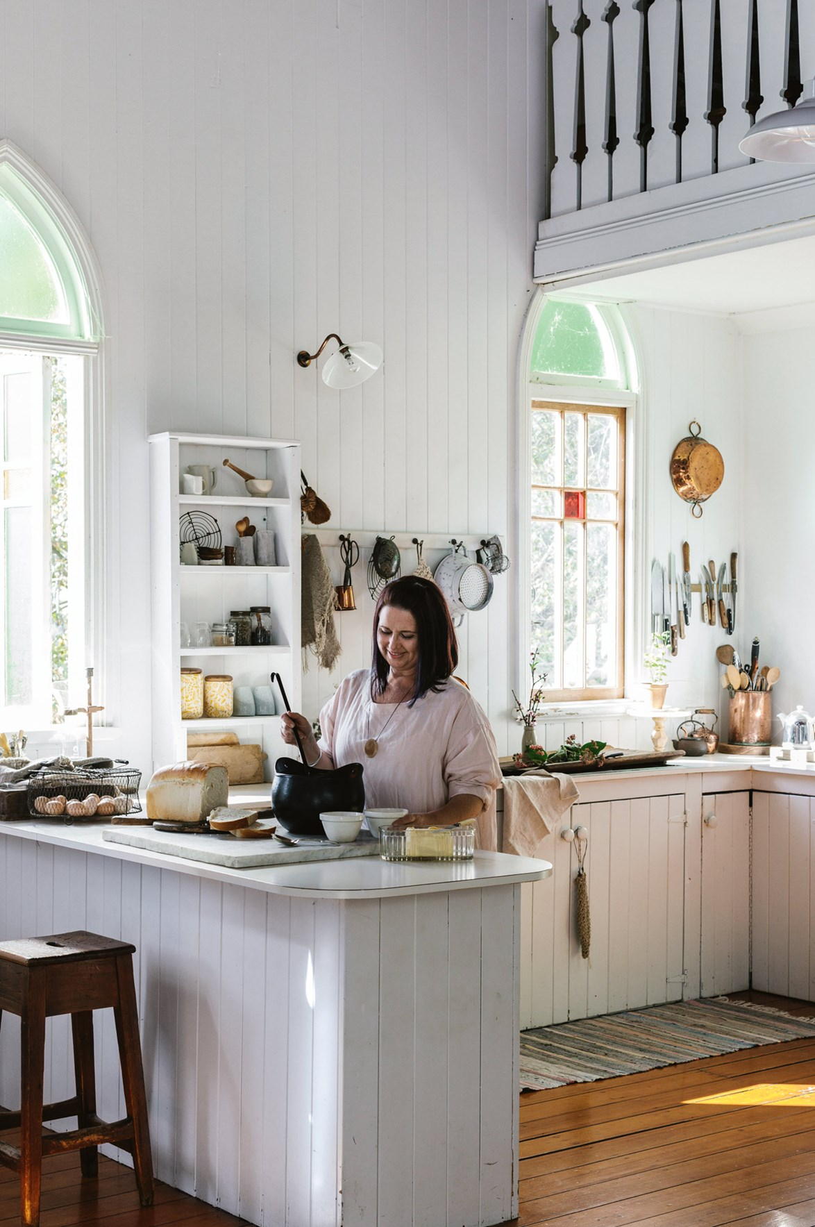 "Although living in [restored old church](https://www.homestolove.com.au/restored-qld-church-full-of-divine-treasures-13984|target=""_blank"") is cool enough on its own, it's actually the lifestyle change that the Carr family enjoy most about their home in Boonah, Queensland. Escaping the hustle and bustle of city life has proved rewarding for the whole family: Cheryl started up her own homewares business while her sons enjoy a free-range upbringing. Her husband Mitch says, ""It's been great for the boys growing up to have the space and it's a safe environment for young men to hang out and socialise."" *Photo: Marnie Hawson*"