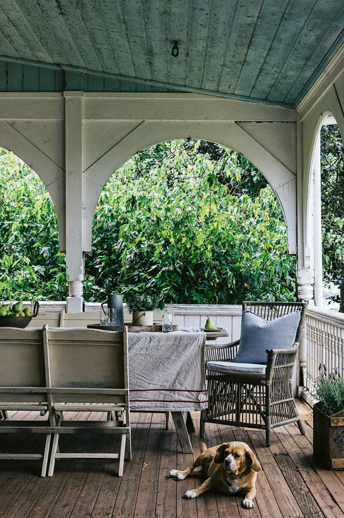 "Views of greenery can be enjoyed while dining out on this spacious verandah. It's a spot that Maisy the dog enjoys too. The homestead, known as [Mount Koroite](https://www.homestolove.com.au/welcoming-family-homestead-near-coleraine-victoria-13987|target=""_blank""), was built in the mid-19th century and features Queen Anne style details. *Photo: Marnie Hawson *"