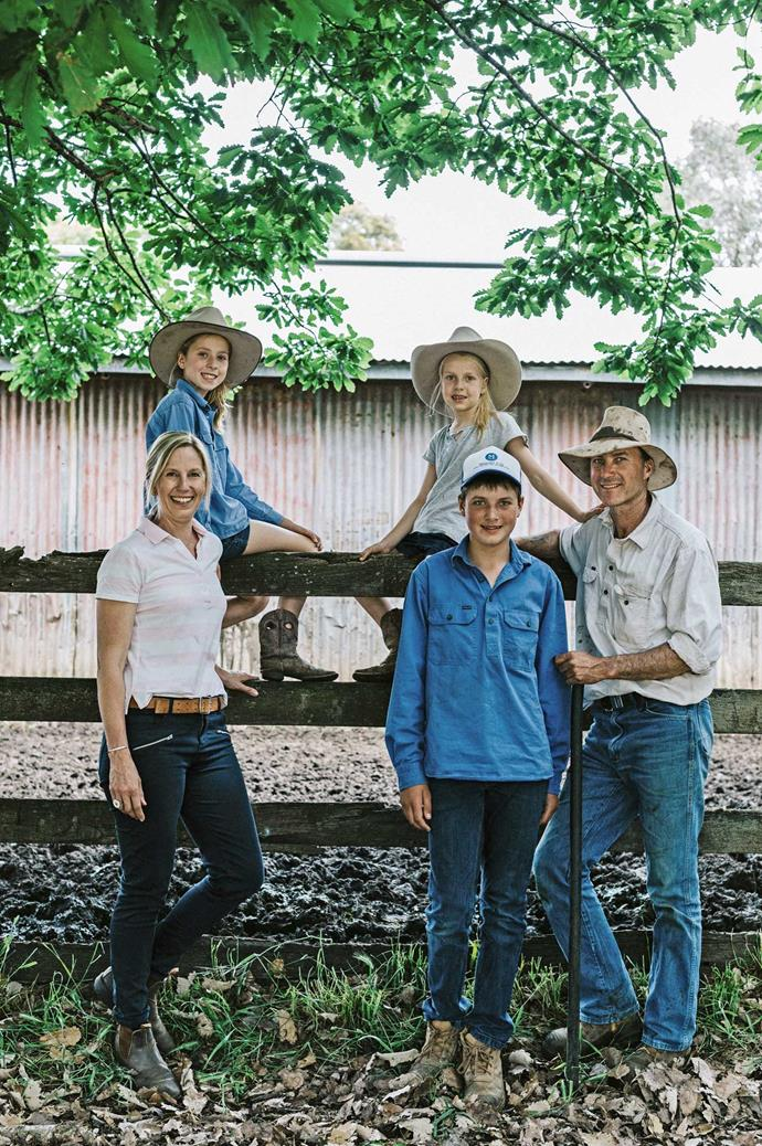 Megan and Paul with their children, Ava, 10, Millie, eight, and Harry, 14. The family moved to Mount Koroite after farming Hereford beef on their 5000-hectare South Australian property.