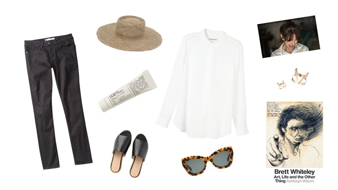 Grace Wood has styled a wardrobe of quality, classic pieces that can take you anywhere. Clockwise from top left, '711' skinny jeans in Black Sheep, $119.95, from [Levi's](https://www.levis.com.au/); Poppy and Co 'Safari' sun hat, $89, from [Hope and May](https://www.hopeandmay.com/); Silk button-through shirt, $179, from [Country Road](https://www.countryroad.com.au/); Mies Nobis 'Cut-out Claavi' ring in Rose Gold, about $245, from [AA-Collected](https://aa-collected.com/); 'Brett Whiteley: Art, Life and the Other Thing' book, $49.99, from [The Book Depository](https://www.bookdepository.com/); 'Northern Lights' sunglasses in Crazy Tort, $265, from [Karen Walker](https://www.karenwalker.com/); 'Sasha' slides, $99.95, from [Trenery](https://www.trenery.com.au/); Le Labo lip balm, $20, from [Mecca Cosmetica](https://www.mecca.com.au/).
