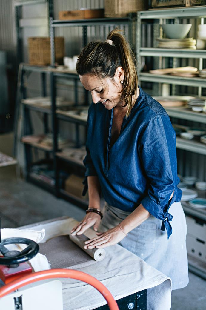 "Using Australian clay and glazes, Anna lets the medium dictate the form it's going to take. ""Sometimes when I roll a piece out, I know instantly that it has to be a platter or a particular type of plate. I like to be spontaneous rather than planning too much before I start — like any art, you get lost in what you're doing and it's meditative,"" Anna says."
