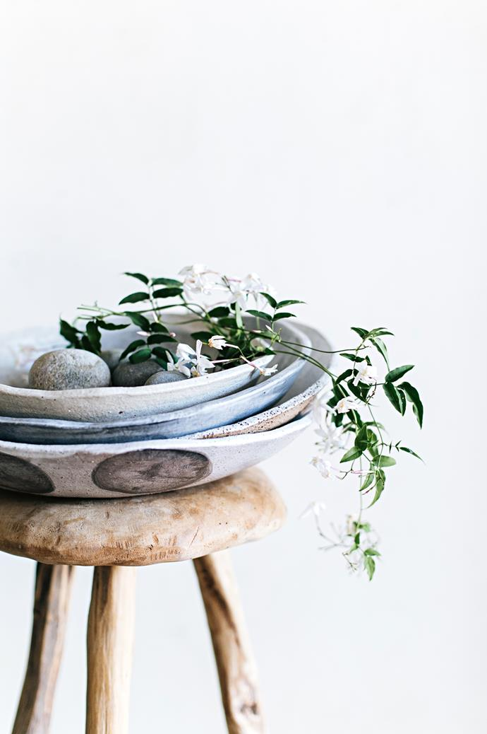 "The high fired bowls are also dishwasher-safe, remaining durable and hardy like beach stones. The wares' textured patterning is derived from Anna's application of [tactile elements like linen textiles](https://www.homestolove.com.au/lovely-linen-buys-7174|target=""_blank"") and handmade paper. ""I had a customer who gave me the lace that belonged to her grandmother, which I pressed into bowls for her sister's wedding,"" she says."
