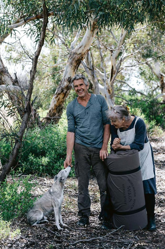 John has the needle and cloth in his blood — his grandfather was a Savile Row tailor in London. He focuses on swags while Gabrielle, once a member of the Australian Air Force, makes the travel bags. The couple walk their property in Glenfield, WA with with their whippet, Jake.